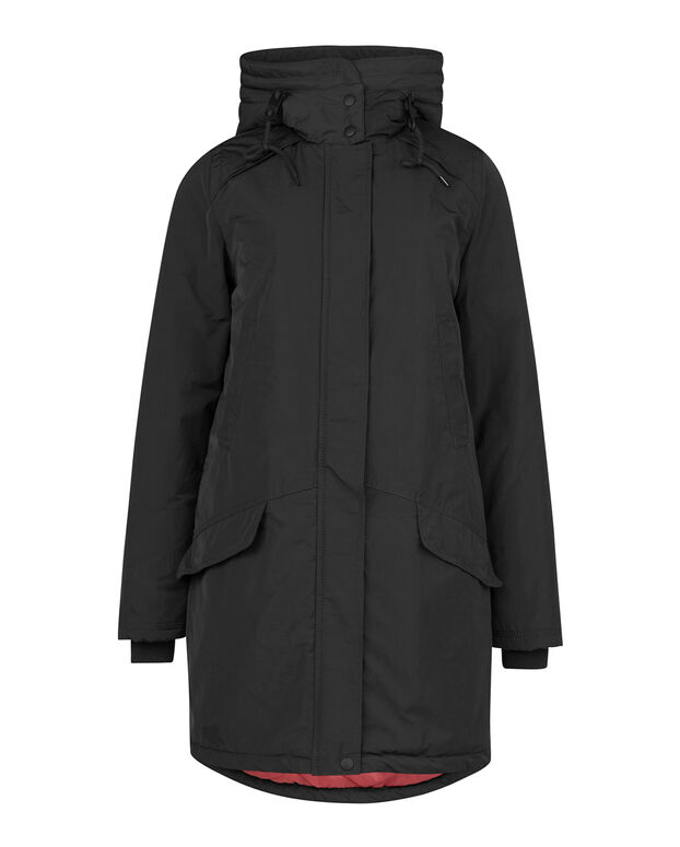 DAMES FAUX FUR DETAIL PARKA Zwart