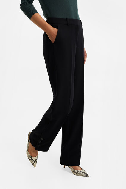 Dames wide leg pantalon met high waist Zwart