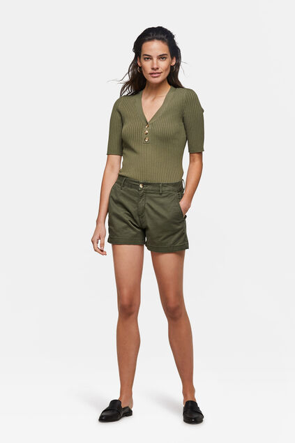 Dames slim fit chino short Legergroen