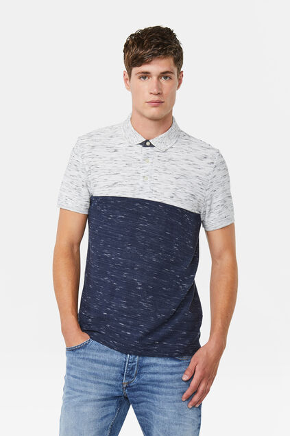 Heren colourblock polo Donkerblauw