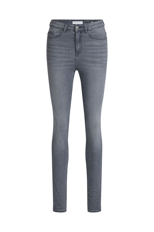 Dames high rise skinny jeans Lichtgrijs