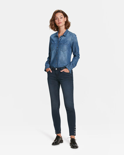DAMES MID RISE SKINNY SNAP BUTTONS JEANS Marineblauw