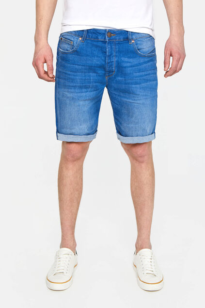 Heren regular fit denimshort Marineblauw