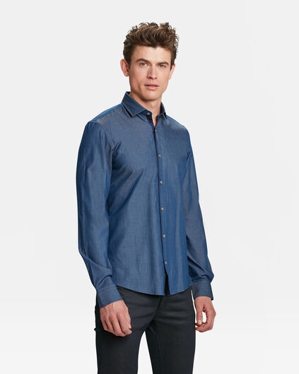 HEREN SLIM FIT CHAMBRAY OVERHEMD Blauw