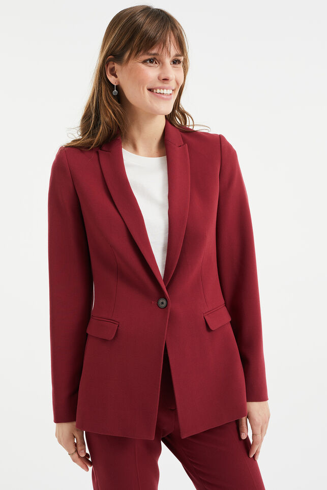 Dames regular fit blazer Donkerrood