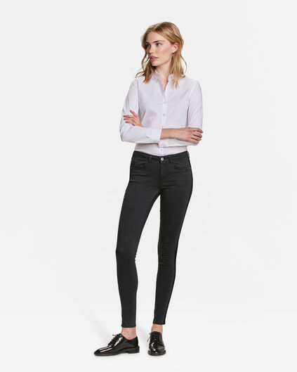 DAMES MID RISE SUPER SKINNY HIGH STRETCH VELVET STRIPE JEANS Zwart