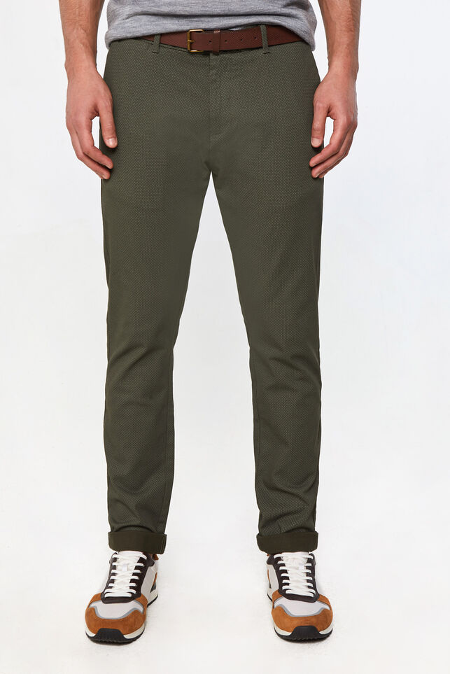 Heren skinny fit chino Legergroen