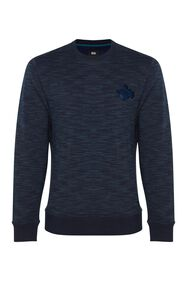 Heren sweater met borduurapplicatie_Heren sweater met borduurapplicatie, Donkerblauw