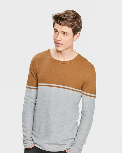 PULL STRUCTURE COLOUR BLOCK HOMME Brun