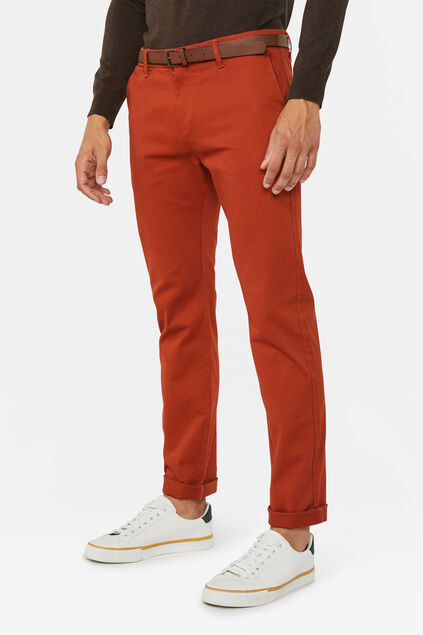 Heren skinny fit chino Lichtrood