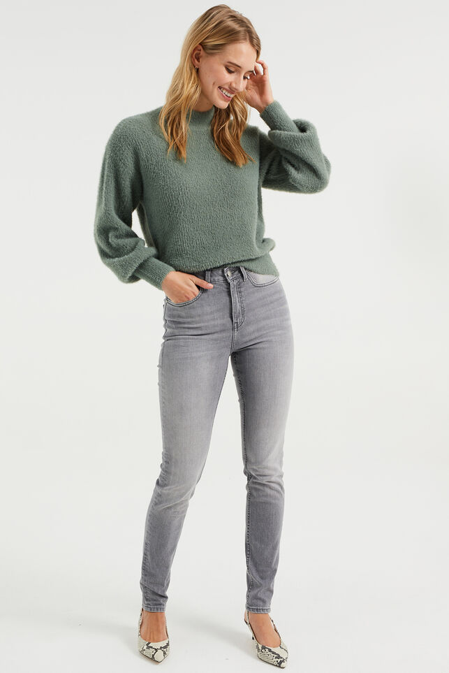 Jeans skinny high rise femme Gris clair
