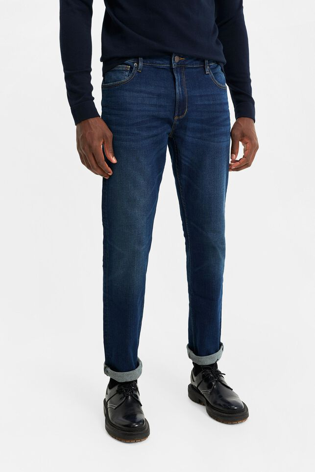 Heren regular fit jog denim jeans Donkerblauw