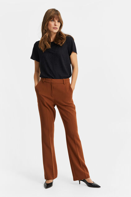 Dames high waist flared pantalon Cognac