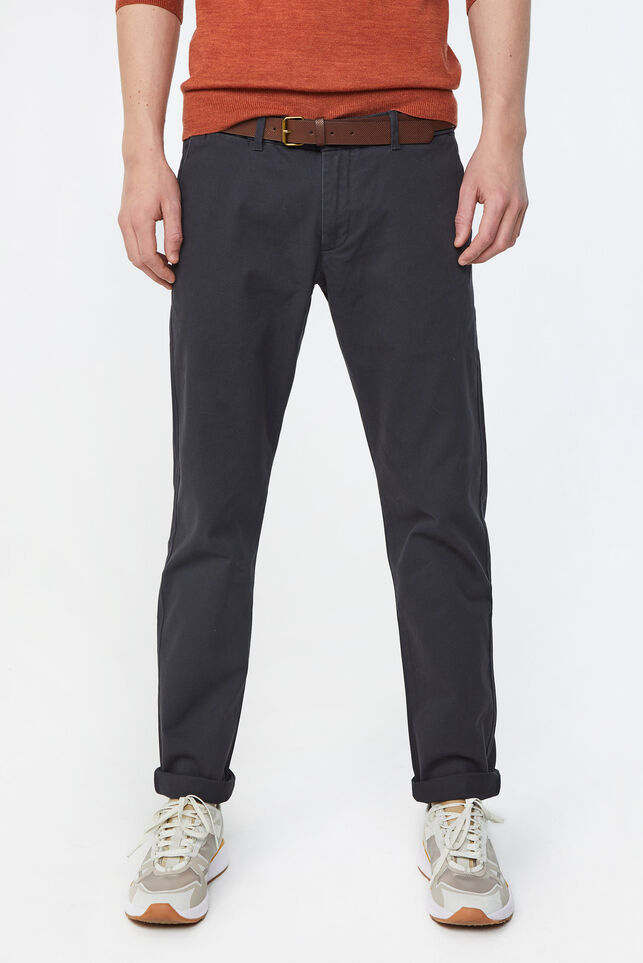 Heren uni slim fit chino Donkergrijs