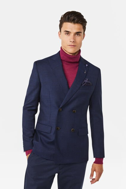 Heren slim fit double breasted blazer Merrill Marineblauw