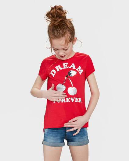 T-SHIRT PAILLETTES RÉVERSIBLES CHERRY FILLE Rouge