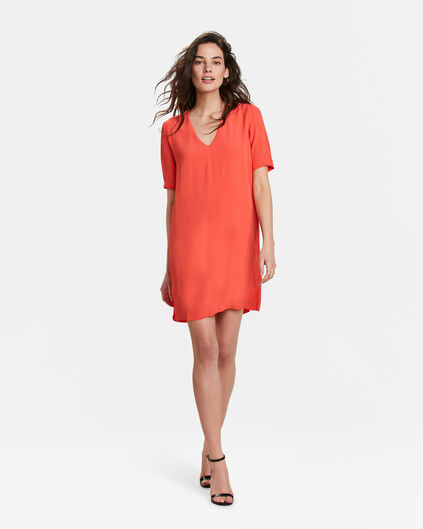 DAMES V-NECK SOLID JURK Oranje