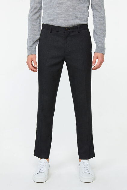 Heren slim tapered jacquard pantalon Donkerbruin