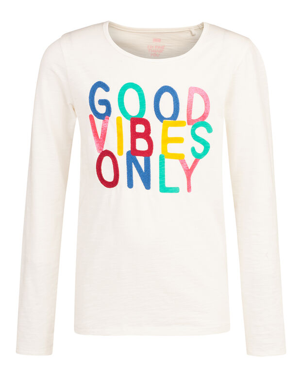 T-SHIRT GOOD VIBES ONLY FILLE Blanc
