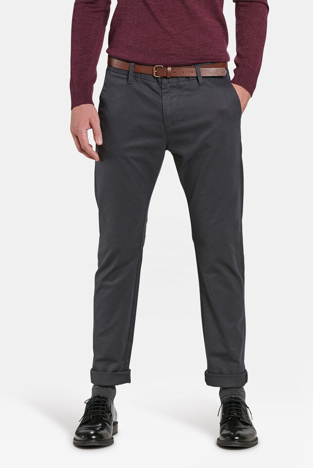 Heren skinny fit chino Donkergrijs