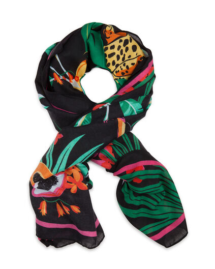 DAMES TROPICAL PRINT SJAAL Multikleur