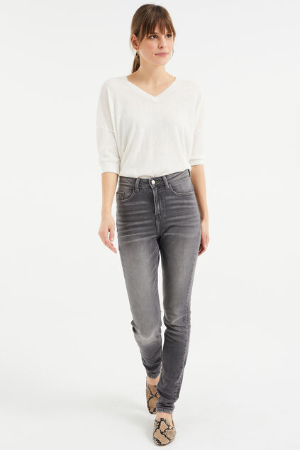 Jeans skinny high rise femme Gris
