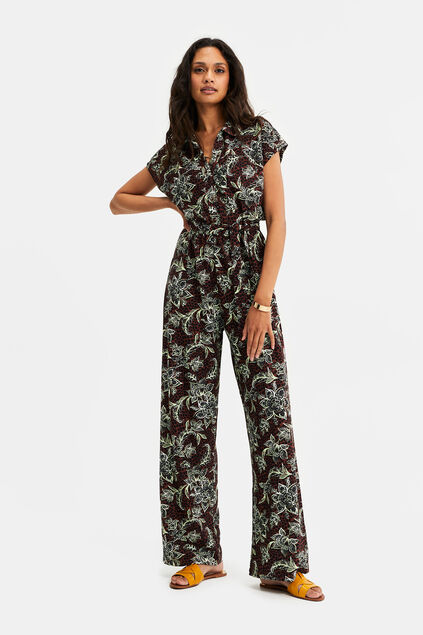 Dames jumpsuit met dessin Bordeauxrood