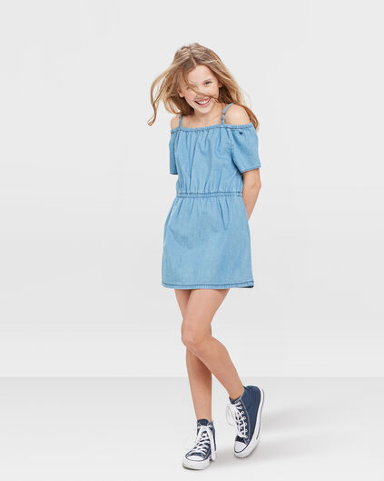 ROBE OFF SHOULDER DENIM FILLE Bleu