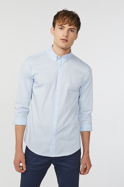Heren slim fit button-down stretch overhemd Lichtblauw