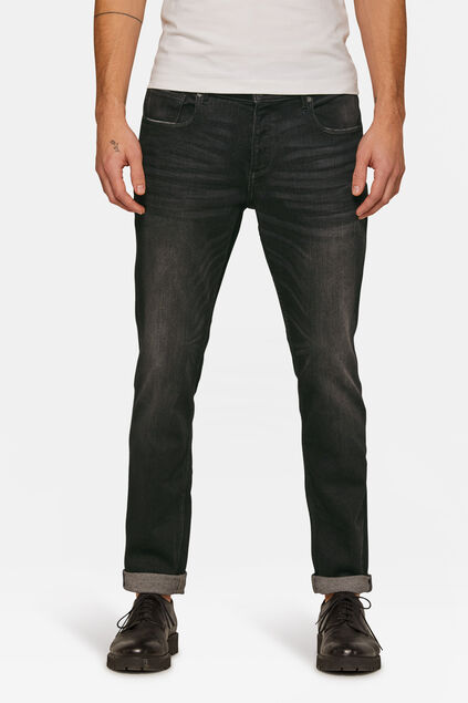 Heren slim tapered stretch jeans Zwart