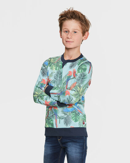 SWEAT-SHIRT TROPICAL BIRD PRINT GARÇON Vert