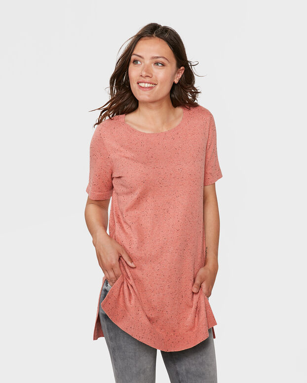 TOP NEPPY STRUCTURE R-NECK FEMME Rose saumon