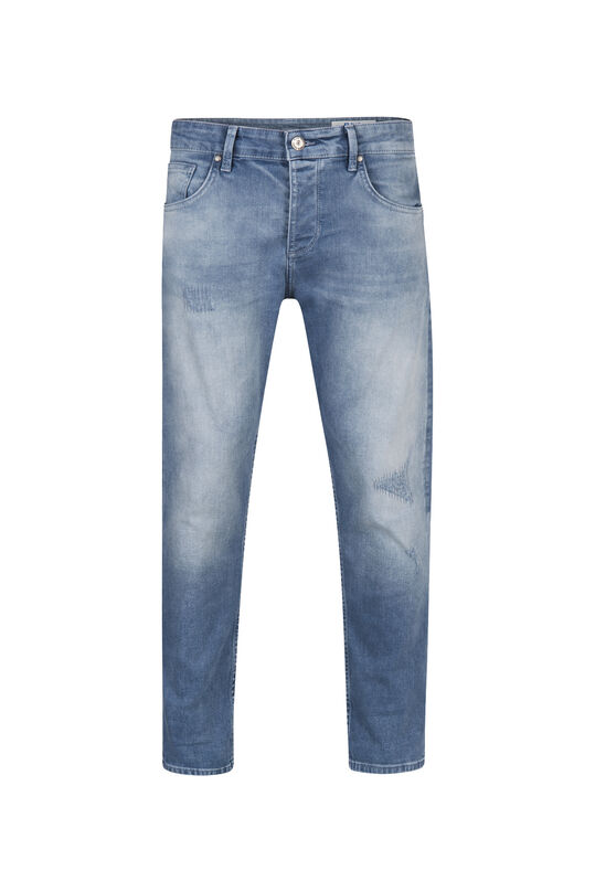 Heren relaxed cropped tapered comfort stretch jeans Grijsblauw