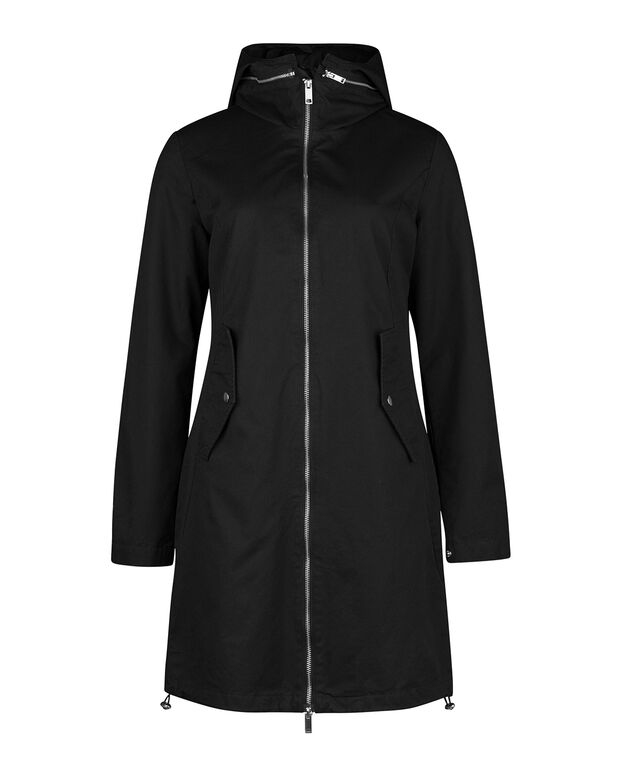 DAMES COTTON ZIPPER PARKA Zwart