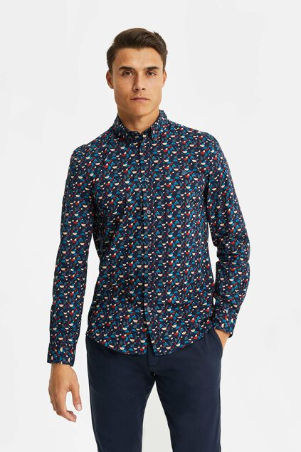 Heren slim fit overhemd met all-over dessin Donkerblauw