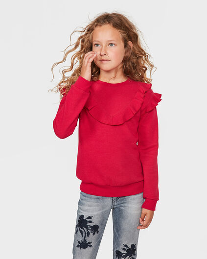 SWEAT-SHIRT RUFFLE FILLE Rose