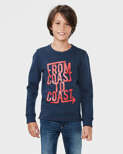 JONGENS COAST PRINT SWEATER Marineblauw