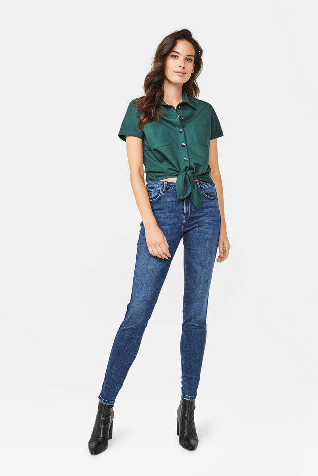 Dames mid rise skinny fit jeans Donkerblauw