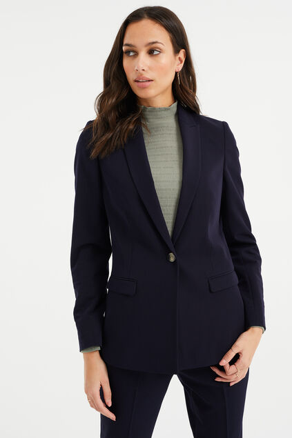 Dames regular fit blazer met stretch Donkerblauw