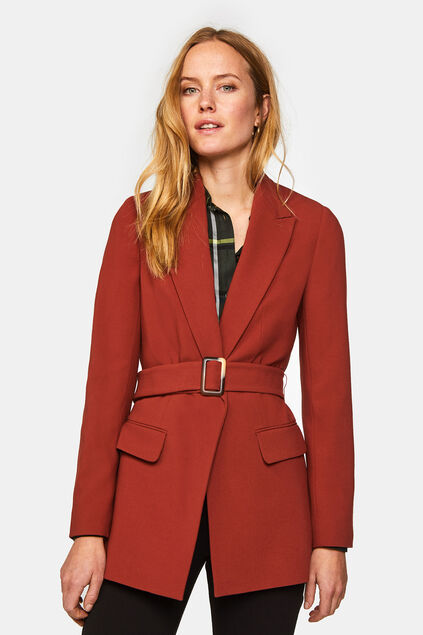 Dames regular fit blazer met structuur en ceintuur Bordeauxrood