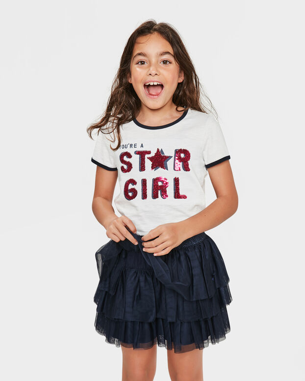 MEISJES STAR GIRL OMKEERBARE PAILLETTEN T-SHIRT Wit