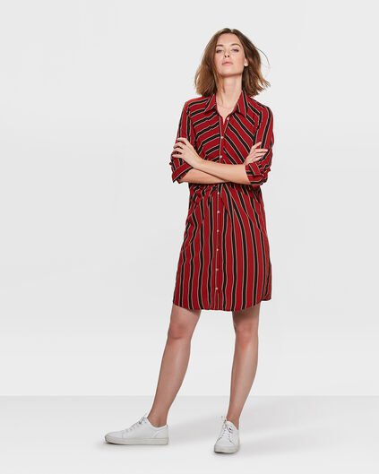DAMES STRIPE TWIST JURK Donkerrood