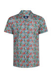 Heren relaxed fit dessin overhemd, Turquoise