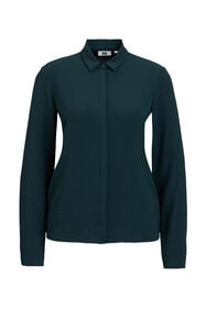 Dames solid blouse_Dames solid blouse, Donkergroen