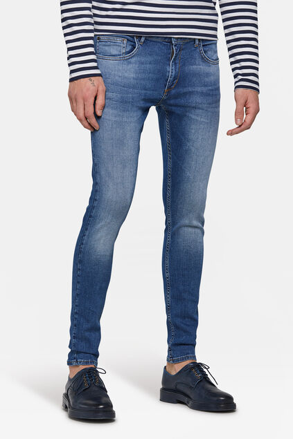 Heren superskinny comfort stretch tapered jeans Blauw