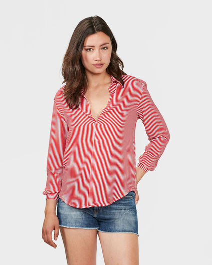 DAMES STRIPE BLOUSE Rood