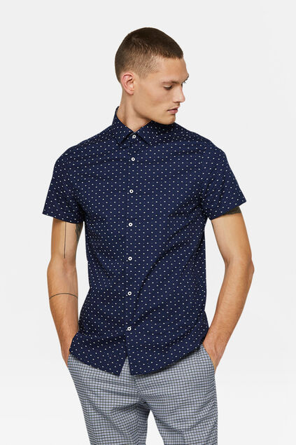 Heren slim fit dessin overhemd Marineblauw