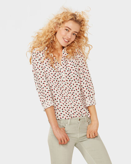 DAMES BIRD PRINT BLOUSE Wit