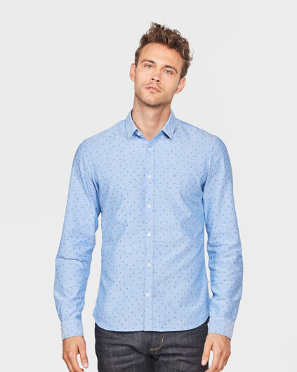 HEREN SLIM FIT BLUE RIDGE PRINT OVERHEMD Lichtblauw