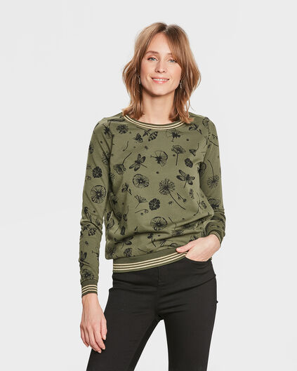 DAMES GLITTER FLOWER SWEATER Olijfgroen